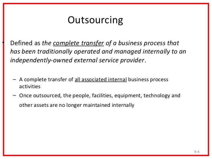 thesis on outsourcing of non core activities Outsourcing is one of these shifts, in which a firm decides to outsource non-core functions to an outsourcing partner (2006) describe outsourcing as the use of resources outside an organization, which generally delegates non-core activities to an external identity.