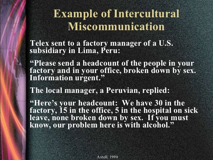 intercultural miscommunication Read this essay on different cultures cause miscommunication helen gay, authors of languages for intercultural communication and education.