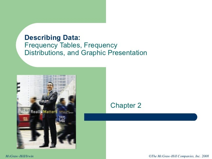 Describing Data:           Frequency Tables, Frequency           Distributions, and Graphic Presentation                  ...