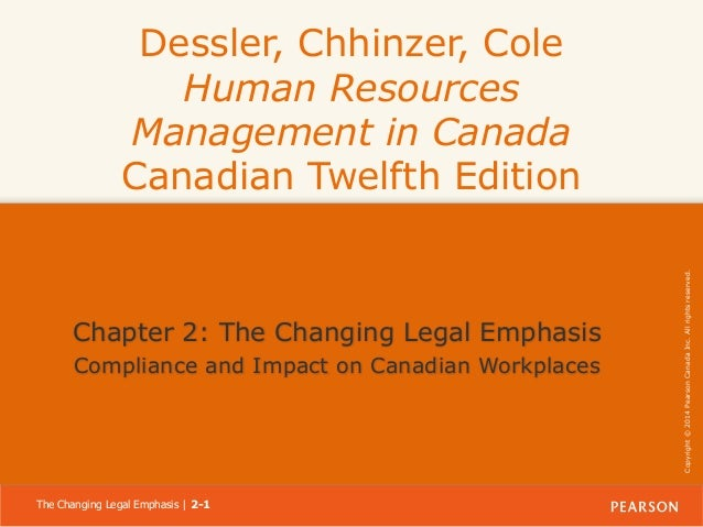 Chapter 2: The Changing Legal Emphasis Compliance and Impact on Canadian Workplaces  The Changing Legal Emphasis | 2-1  Co...