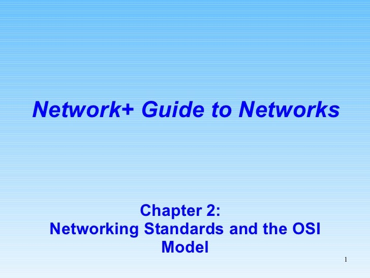 Chapter 2:  Networking Standards and the OSI Model Network+ Guide to Networks