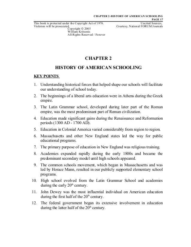 Ch. 2 History of American Schooling - Dr. William Allan Kritsonis
