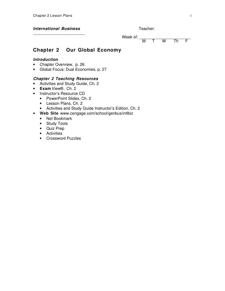 Chapter 2 Lesson Plans                                                         1   International Business                 ...