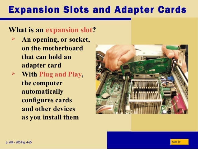 Types of expansion slots and adapter cards