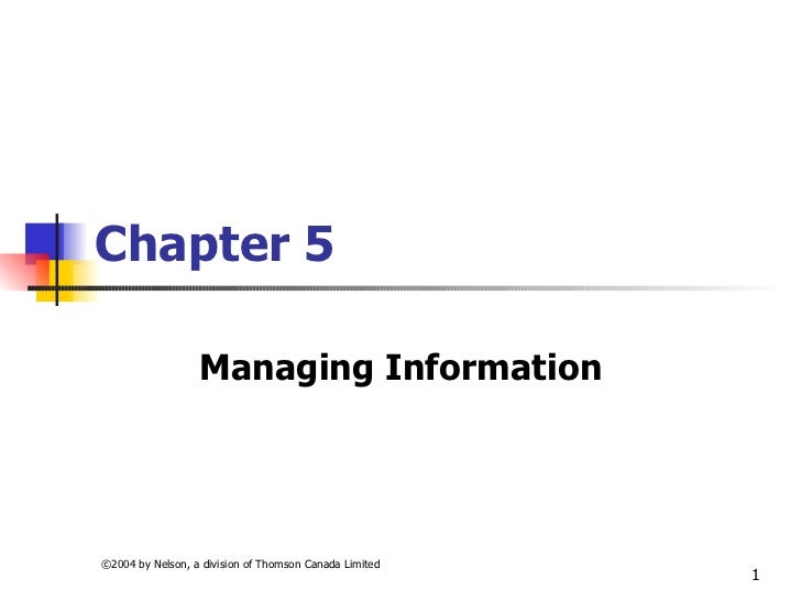 Chapter 5 Managing Information