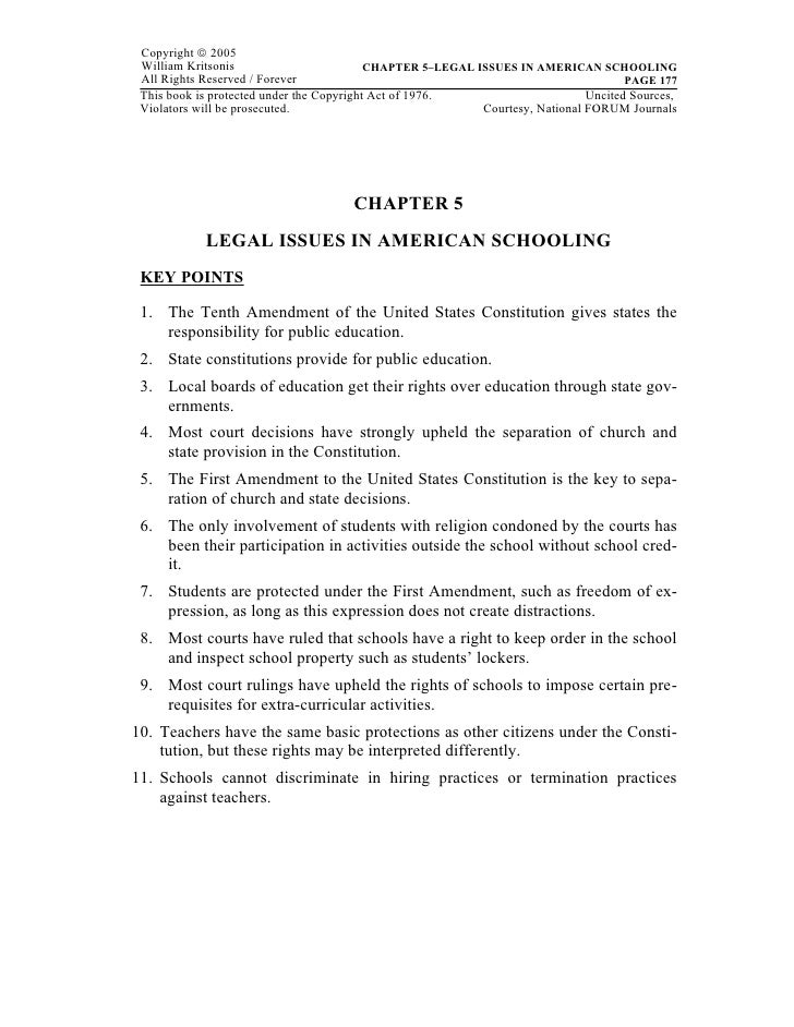 Copyright © 2005 William Kritsonis                         CHAPTER 5–LEGAL ISSUES IN AMERICAN SCHOOLING All Rights Reserve...