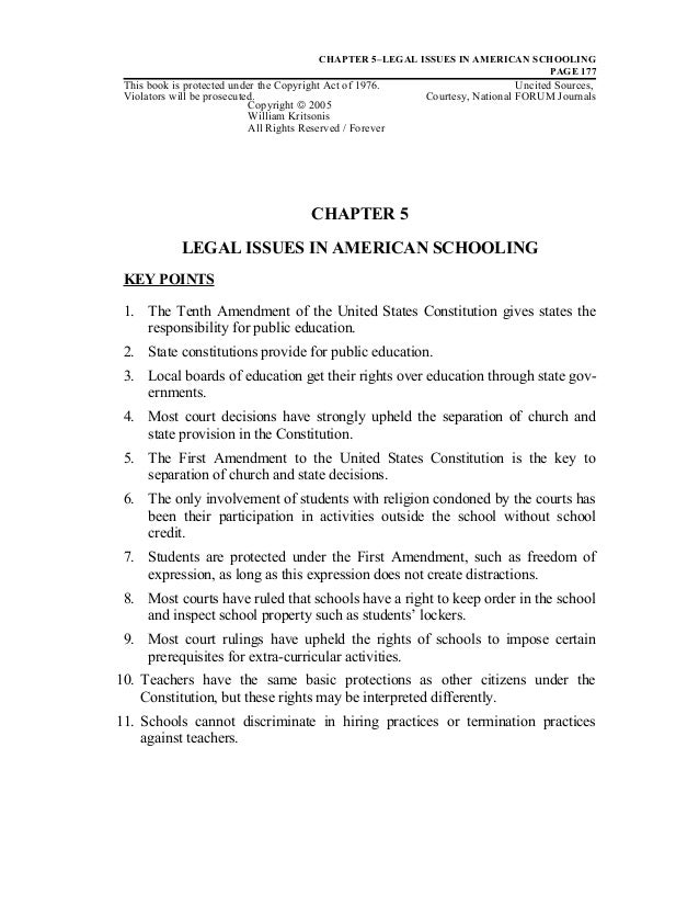 CHAPTER 5–LEGAL ISSUES IN AMERICAN SCHOOLINGPAGE 177This book is protected under the Copyright Act of 1976. Uncited Source...