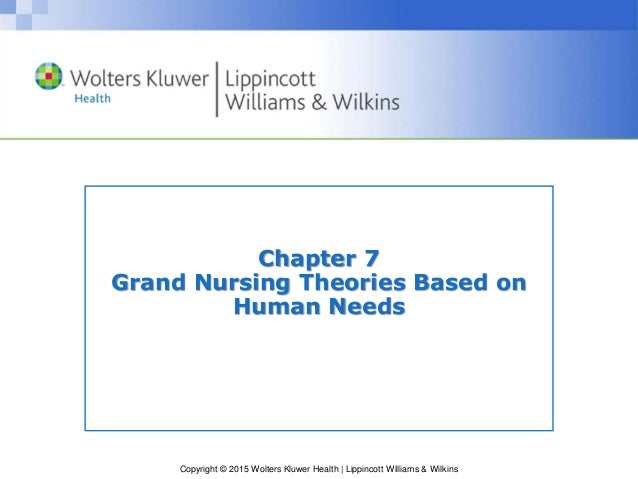 Copyright © 2015 Wolters Kluwer Health | Lippincott Williams & Wilkins Chapter 7 Grand Nursing Theories Based on Human Nee...