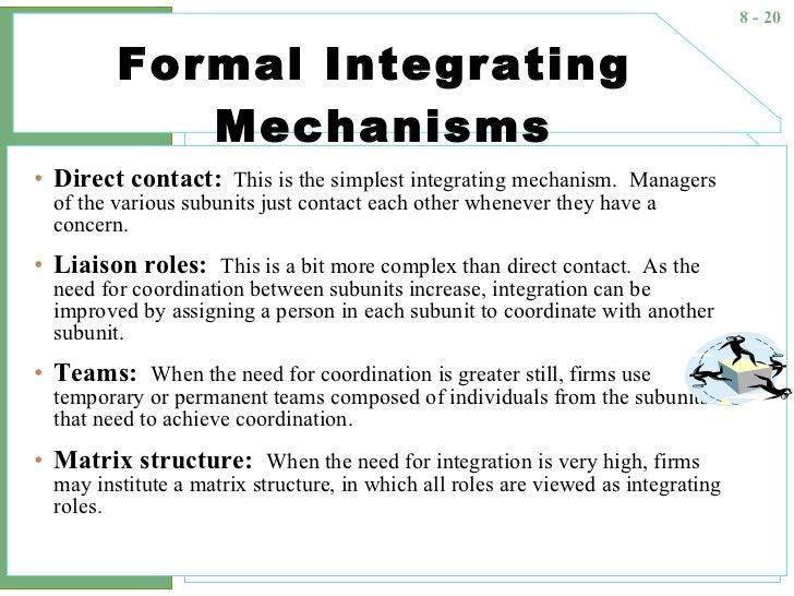 complex integrating mechanisms in an organization