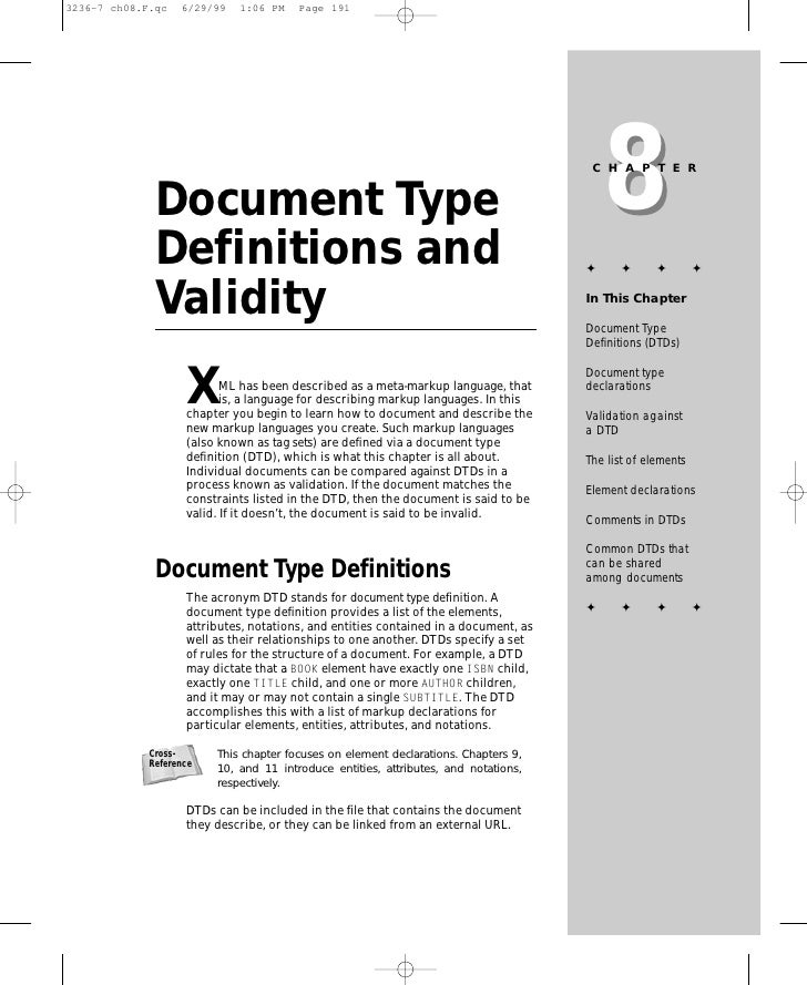8                                                                           CHAPTER    Document Type  Definitions and     ...
