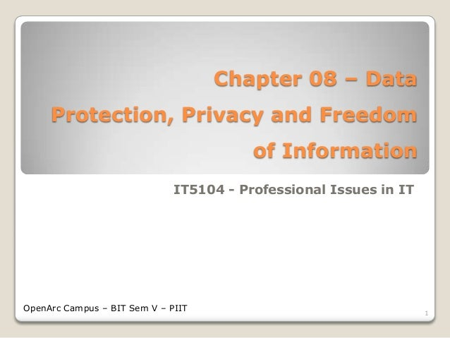 Chapter 08 – Data Protection, Privacy and Freedom of Information - BIT IT5104
