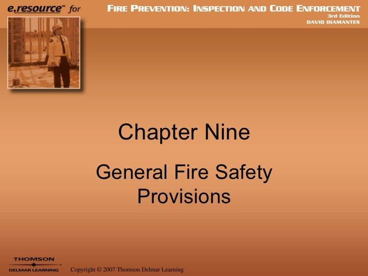 Chapter Nine General Fire Safety Provisions