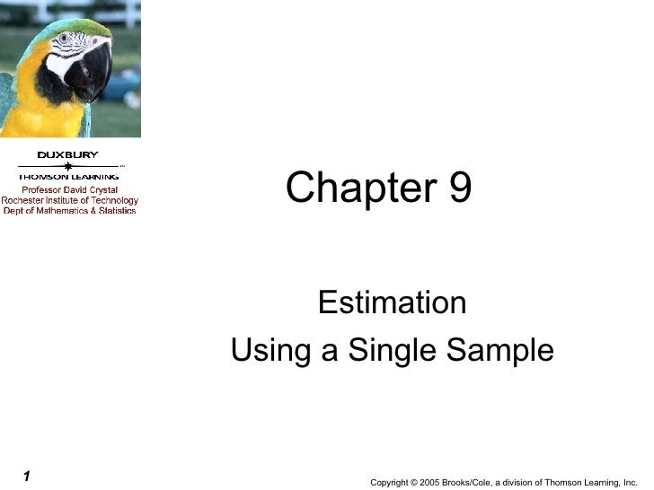 Chapter 9 Estimation Using a Single Sample
