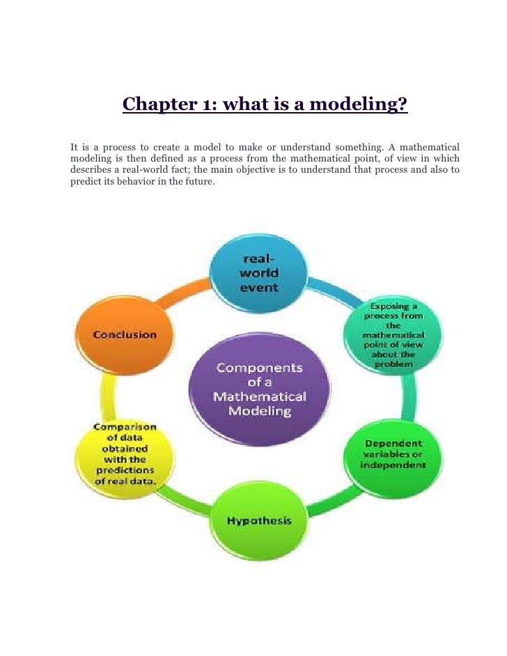 Chapter 1: what is a modeling?<br />It is a process to create a model to make or understand something. A mathematical mode...
