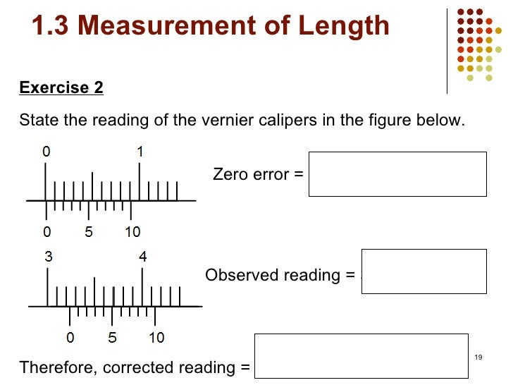 exercises how to read a vernier caliper