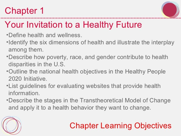 Chapter 1Your Invitation to a Healthy Future•Define health and wellness.•Identify the six dimensions of health and illustr...
