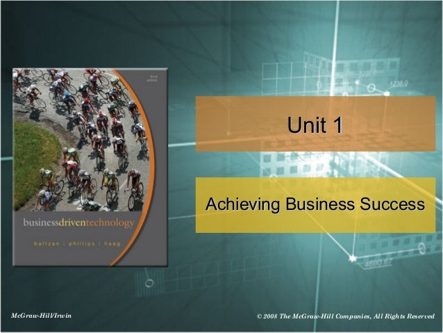 Unit 1                    Achieving Business SuccessMcGraw-Hill/Irwin         © 2008 The McGraw-Hill Companies, All Rights...