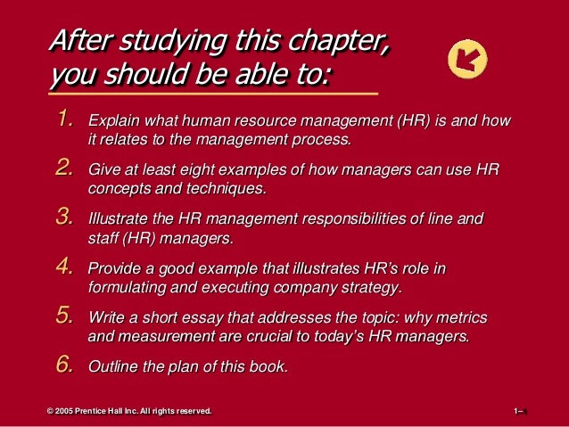 After studying this chapter, you should be able to: 1.  Explain what human resource management (HR) is and how it relates ...