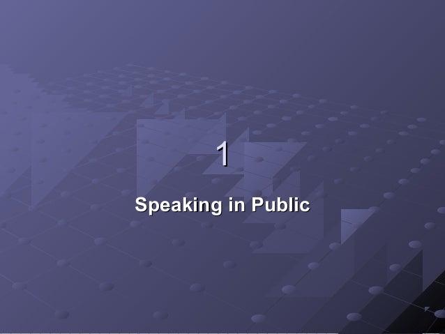 1 Speaking in Public