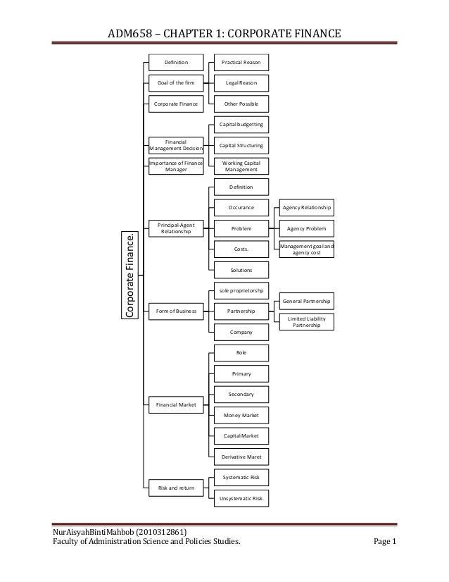 ADM 658: Chapter 1 - Corporate Finance