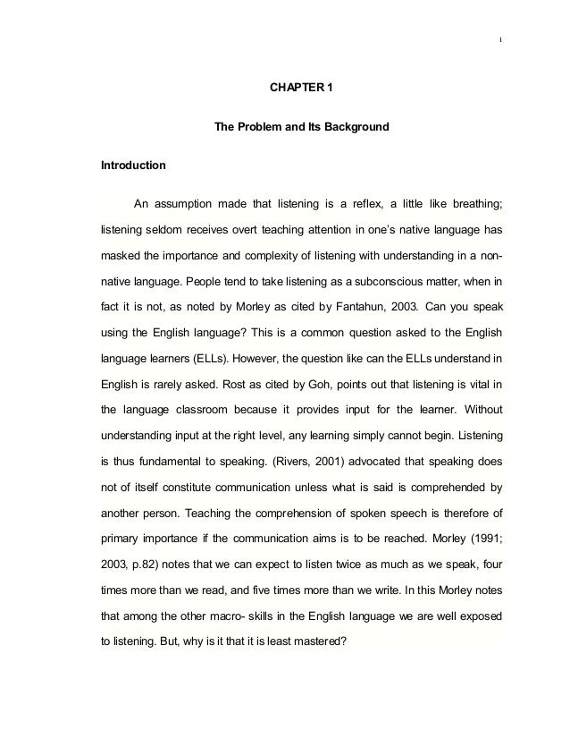 Variables Affecting Listening Comprehension in English Among Third Year High School Students of LSPU- SPCC, 2012- 13. Chapter 1
