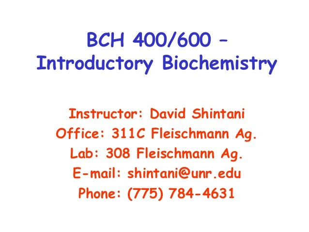 Chapter 1 - Introduction to Biochemistry (slideshare)