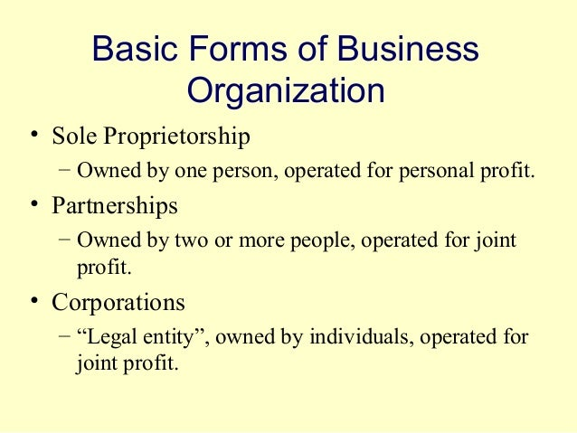 3 forms of business organization pdf