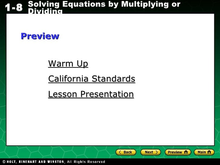 Warm Up Lesson Presentation California Standards Preview