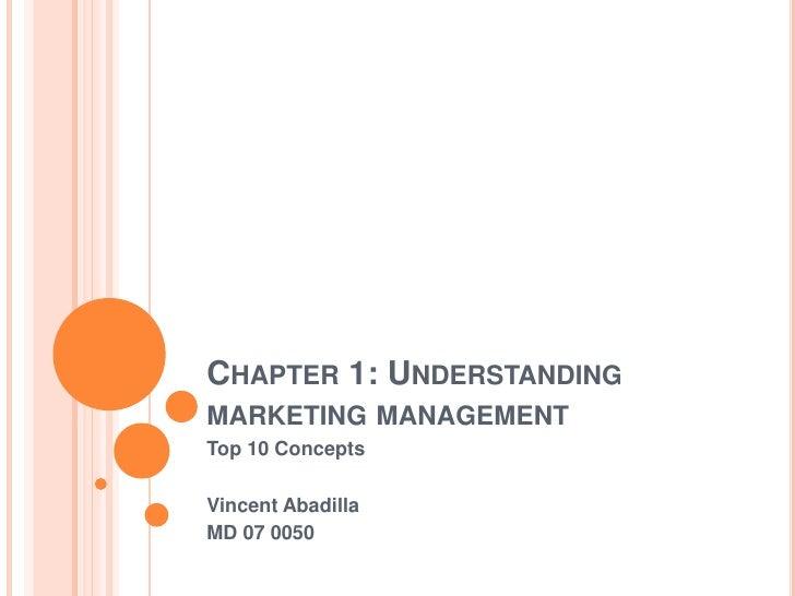 Chapter 1: Understanding marketing management<br />Top 10 Concepts<br />Vincent Abadilla<br />MD 07 0050<br />