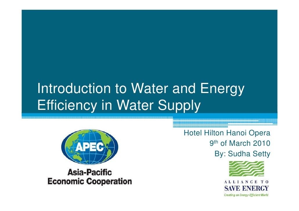 1: Introduction to Water and Energy Efficiency in Water Supply