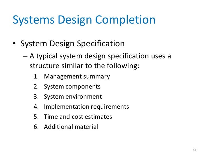 System Architecture Design Systems Design Completion•