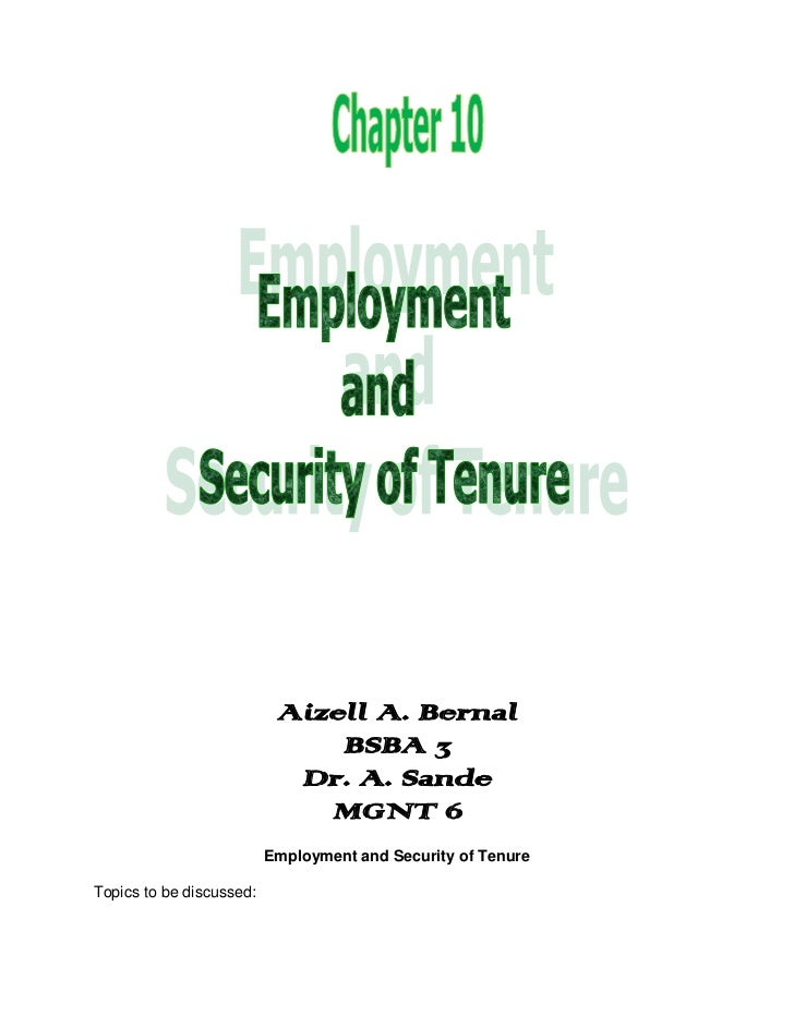 Chapter 10 - Employment ans Security of Tenure