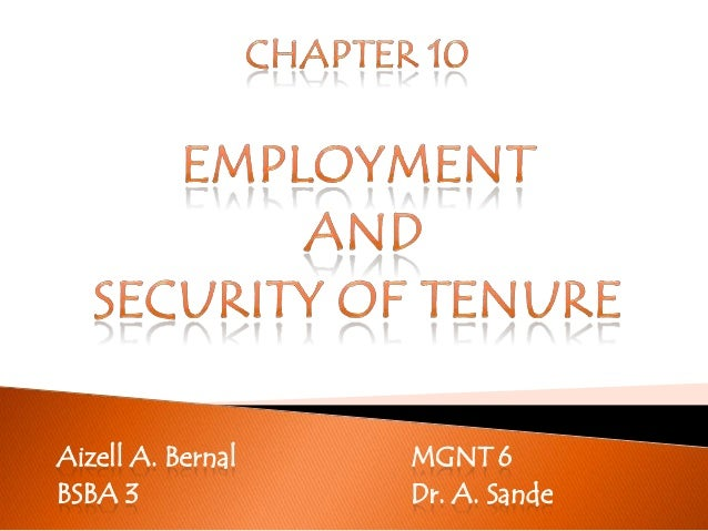 Employment and Security of Tenure