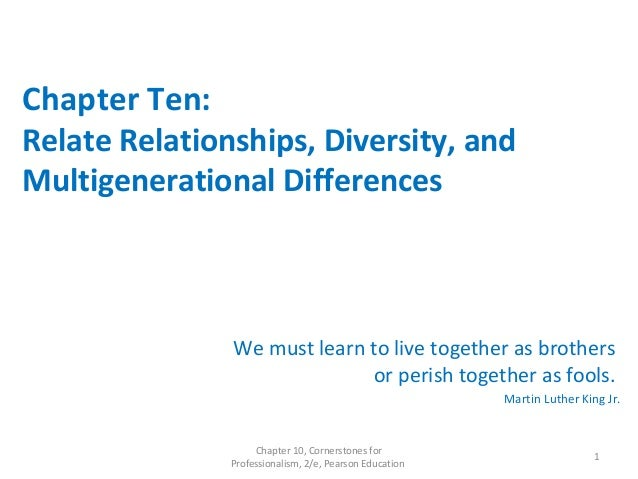 Chapter Ten: Relate Relationships, Diversity, and Multigenerational Differences We must learn to live together as brothers...