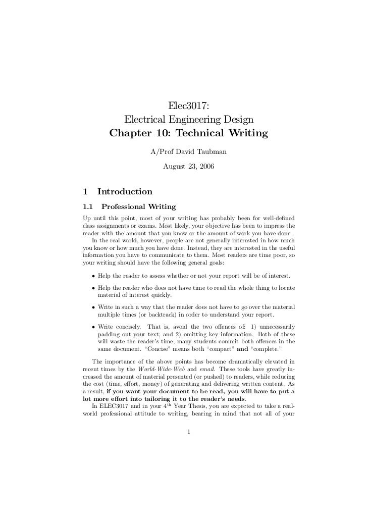 Engineering technical writing