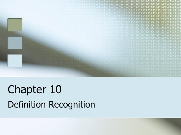 Chapter 10Definition Recognition