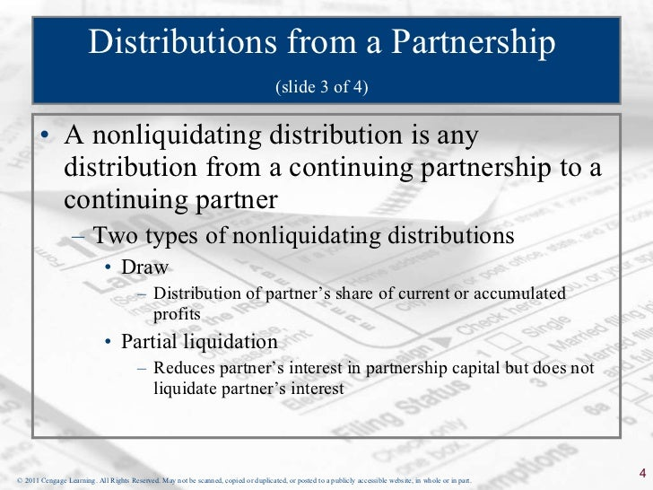 liquidating distribution of partnership Home » retiring a partner: gone, but not of a partner's entire interest in a partnership by means of a distribution his liquidating distribution.