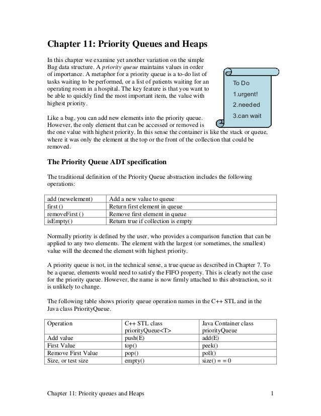 Chapter 11: Priority Queues and HeapsIn this chapter we examine yet another variation on the simpleBag data structure. A p...