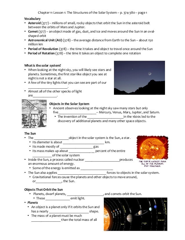 Chapter 11 Lesson 1: The Structures of the Solar System – p. 374-380 – page 1 Vocabulary • Asteroid (377) – millions of sm...
