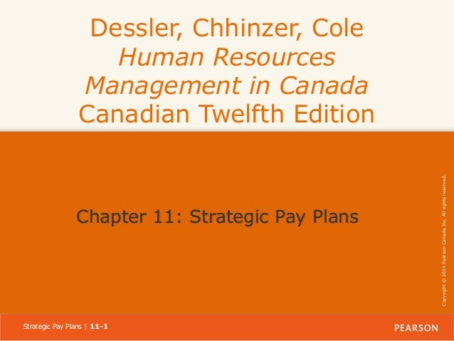 Chapter 11: Strategic Pay Plans  Strategic Pay Plans | 11-1  Copyright © 2014 Pearson Canada Inc. All rights reserved.  De...