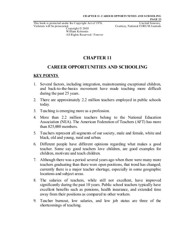 Ch. 11 Career Opportunities and Schooling - Dr. William Allan Kritsonis