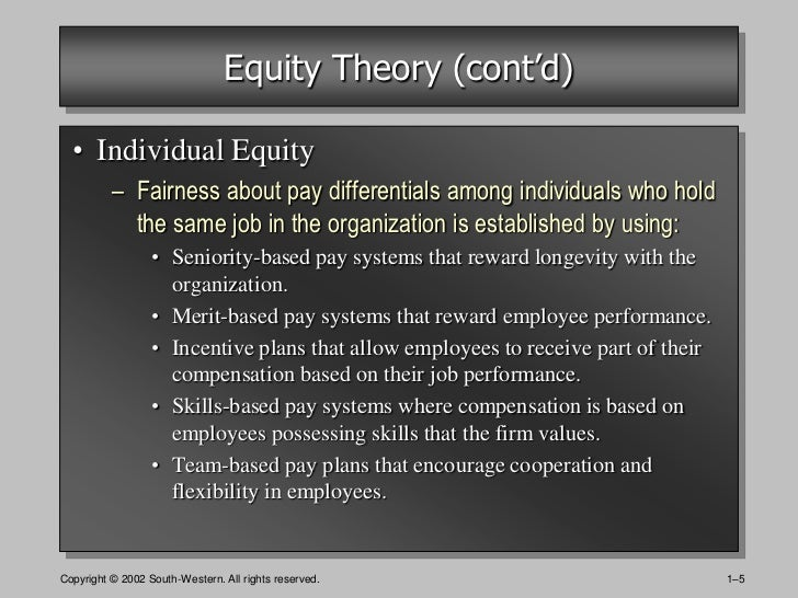 the concepts of equity in sport Equity theory is based in the idea that individuals are motivated by fairness, and if they identify inequities in the input or output ratios of themselves and their referent group, they will seek to adjust their input to reach their perceived equity.