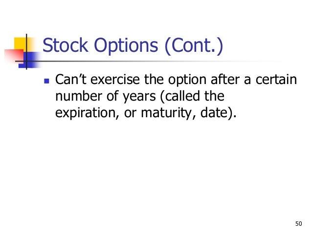 Vesting exercising stock options