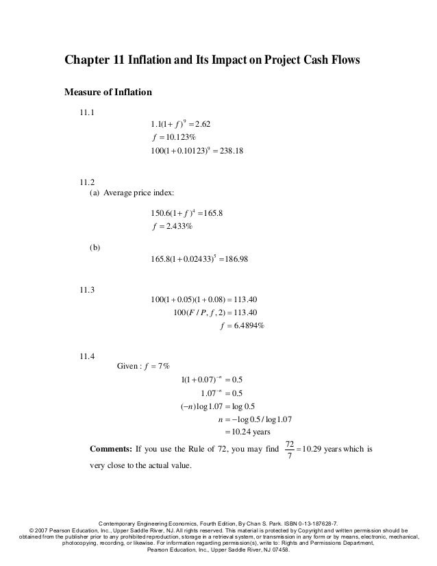 Chapter 11 Inflation and Its Impact on Project Cash Flows                  Measure of Inflation                        11....
