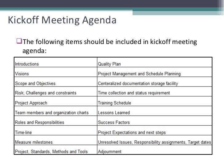 project kickoff meeting agenda
