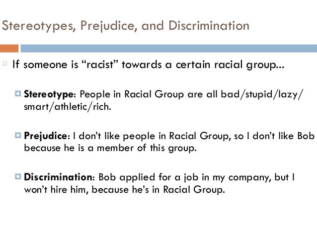 prejudice and discrimination thesis statement Racial discrimination is an ongoing human essays related to racial discrimination 1 the social context of prejudice and discrimination because of race or.