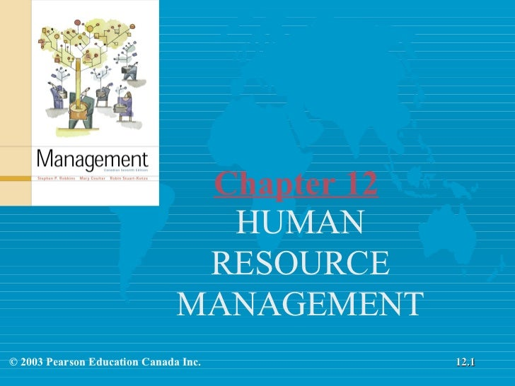 Chapter 12 HUMAN RESOURCE MANAGEMENT © 2003 Pearson Education Canada Inc. 12.1