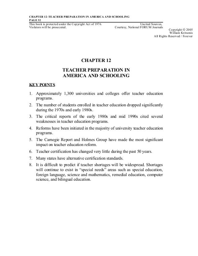 CHAPTER 12–TEACHER PREPARATION IN AMERICA AND SCHOOLINGPAGE 32This book is protected under the Copyright Act of 1976. Unci...