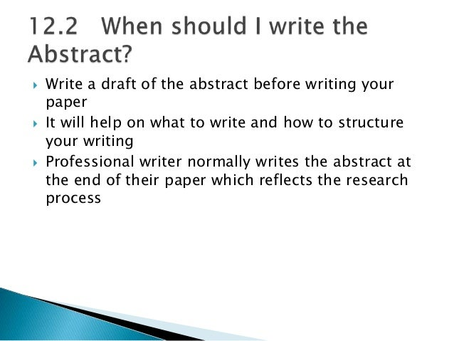 how to write an abstract for a chemistry research paper
