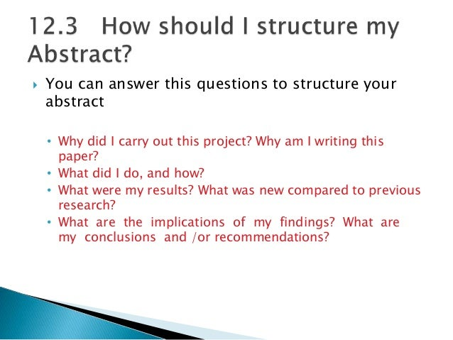How To Write Abstracts Of Research Paper